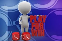 3d man play for win illustration Stock Images