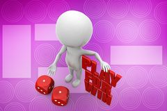 3d man play for win illustration Royalty Free Stock Images