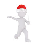 3d man playing badminton running to make a stroke. With the racket in his hand wearing a red Santa hat for Xmas, isolated rendered illustration on white Royalty Free Stock Photos