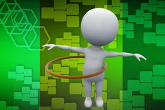 3d man playing inside circle illustration Stock Photo