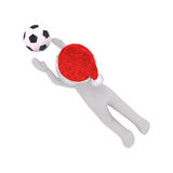 3d man playing soccer diving to catch the ball Stock Images