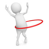 3d man plays hula hoop exercise on white background Royalty Free Stock Photos