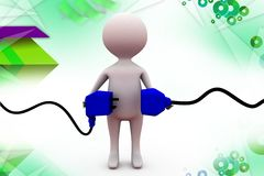 3d man with plug  illustration Royalty Free Stock Photos