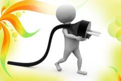 3d man plug  illustration Stock Image