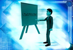 3d man pointing on caution sign board illustration Royalty Free Stock Photos