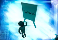3d man pointing on caution sign board illustration Royalty Free Stock Images