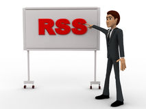 3d man pointing fingure at RSS board concept Royalty Free Stock Photos