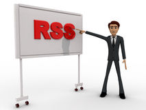 3d man pointing fingure at RSS board concept Royalty Free Stock Photo