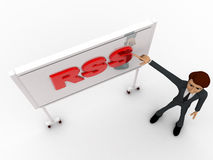 3d man pointing fingure at RSS board concept Stock Images