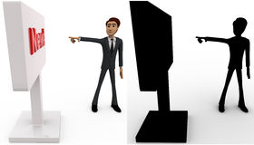 3d man pointing at new sign board concept collections with alpha and shadow channel Royalty Free Stock Images