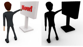 3d man pointing at new sign board concept collections with alpha and shadow channel Royalty Free Stock Photo