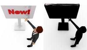 3d man pointing at new sign board concept collections with alpha and shadow channel Stock Images