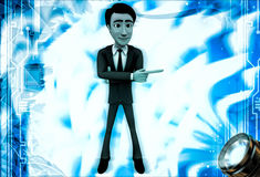 3d man pointing in one direction illustration Royalty Free Stock Image