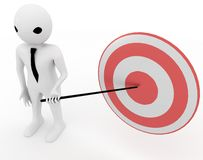 3d man pointing presentation stick on red and white target board illustration. Top view Stock Image