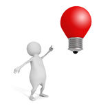 3d man pointing on red concept idea lightbulb Stock Photo