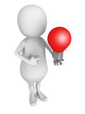 3d man pointing on red concept idea lightbulb Royalty Free Stock Photo