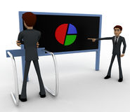 3d man pointing and showing pie graph to another man concept Stock Photos