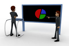 3d man pointing and showing pie graph to another man concept Stock Images