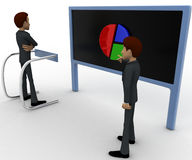 3d man pointing and showing pie graph to another man concept Royalty Free Stock Photography