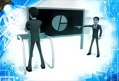 3d man pointing and showing pie graph to another man illustration Stock Images