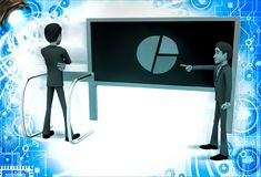 3d man pointing and showing pie graph to another man illustration Stock Image