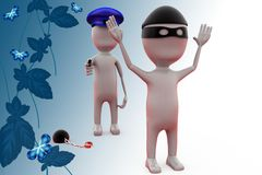 3d man police catch thief illustration Royalty Free Stock Photos