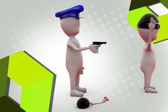 3d man police catch thief illustration Stock Photos