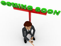 3d man ponting fingure and with coming soon advertise board concept Stock Image