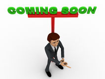 3d man ponting fingure and with coming soon advertise board concept Royalty Free Stock Photo