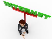 3d man ponting fingure and with internet advertise board concept Stock Photo