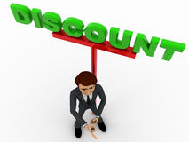 3d man ponting fingure nad with discount advertise board concept Royalty Free Stock Image