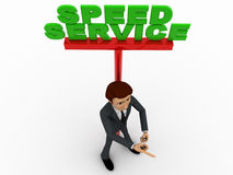 3d man ponting fingure and with speed service advertise board concept Stock Photography
