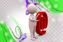 3d man ponting to mail icon  illustration Stock Photos