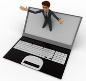 3d man popping out of laptop screen concept Royalty Free Stock Photo