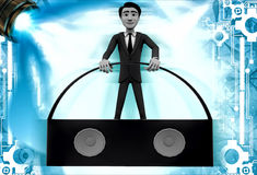 3d man with portable music speaker illustration Royalty Free Stock Photography