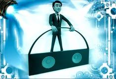 3d man with portable music speaker illustration Stock Photo