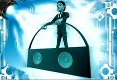 3d man with portable music speaker illustration Stock Image