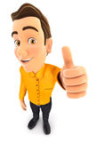 3d man positive pose with thumb up. White background Stock Photos
