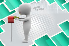 3d man post box  illustration Stock Photos