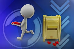 3d man post office love illustration Royalty Free Stock Photography