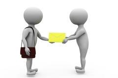 3d man postman give letter concept Stock Images