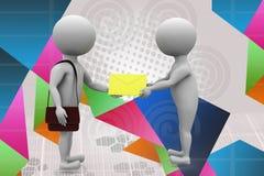 3d man postman give letter illustration Stock Image