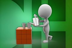 3d man pouring tea illustration Stock Photography