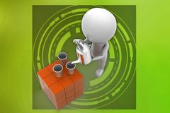3d man pouring tea illustration Royalty Free Stock Photography