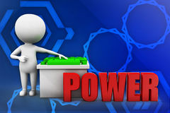 3d man power battery illustration Stock Image
