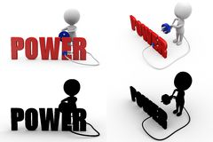 3d man power Concept Collections With Alpha And Shadow Channel Stock Photography