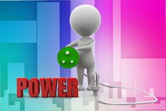 3d man power connect illustration Stock Images