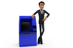 3d man present atm machine concept Stock Photo
