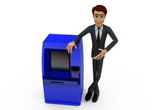 3d man present atm machine concept Stock Photography