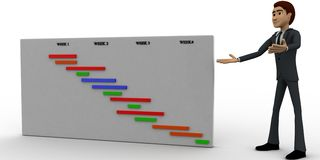 3d man present value graph concept Royalty Free Stock Images